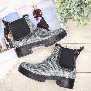 JEFFREY CAMPBELL Black White Checkered Rain Boots